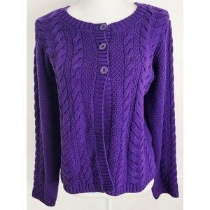 Hanna Andersson • Purple Open Knit Cardigan